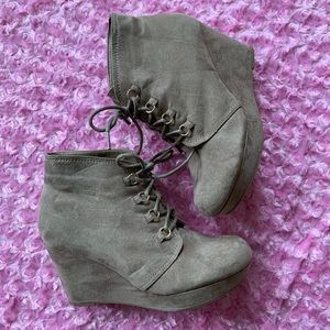 Faux Suede Bootie Wedges